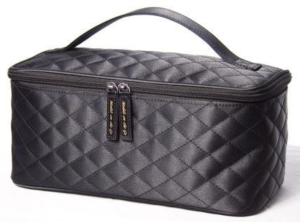Black Satin Cosmetic Bag by Models-on-the-Go Large Size (Cosmetic Bag Quilted)