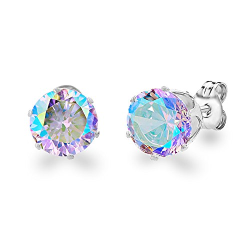 Diane Lo'ren 18KT White Gold Plated 8mm Gemstone Crystal Cubic Zirconia Studs Earrings Set Women Jewelry (Aurora Borealis)