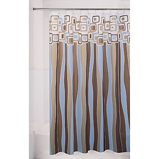 Merveilleux Retro Squares Vinyl Shower Curtain In Shades Of Blue, Brown Khaki U0026 Clear  Frosted
