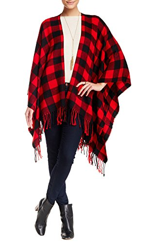 Angie Soft Knit Buffalo Woven Plaid Checkered Cold Weather Fringe Scarf Oversized Blanket Wrap Poncho (Red) by Angie