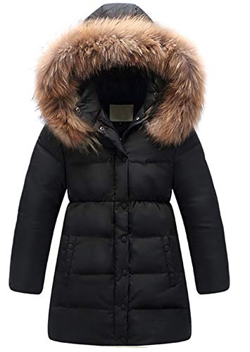 (Kedera Big Girls' Winter Parka Down Coat Puffer Jacket Padded Overcoat with Fur Hood (T10-12, Black) )