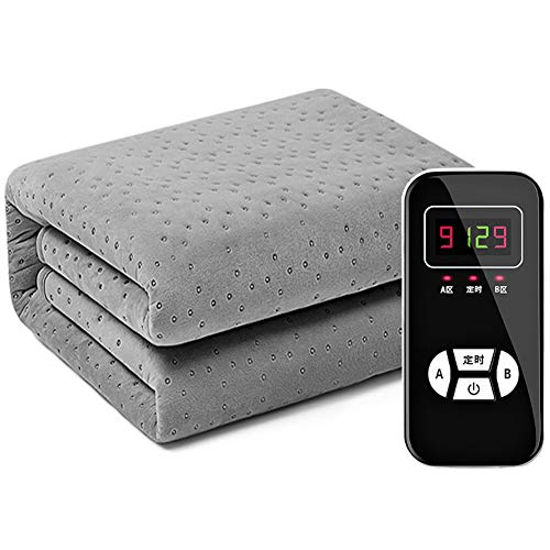 LRRJJ Heated Blankets Electric, Smart Reduce Temperature Electric Heating Mattress Pad, Heated Throw 1-12h Timer 9 Control Heat Settings Velvet Plush,Gray,200×180cm