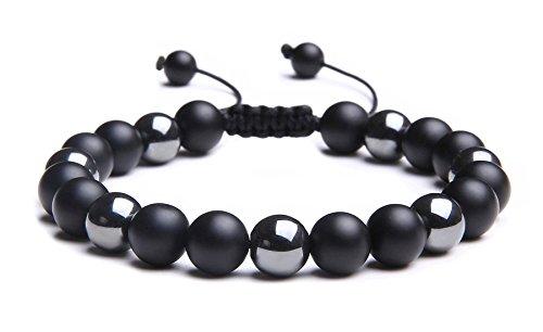 MAOCEN Handmade 8mm Bead Bracelets for Men (Black Onyx Stone and Hematite Braided)