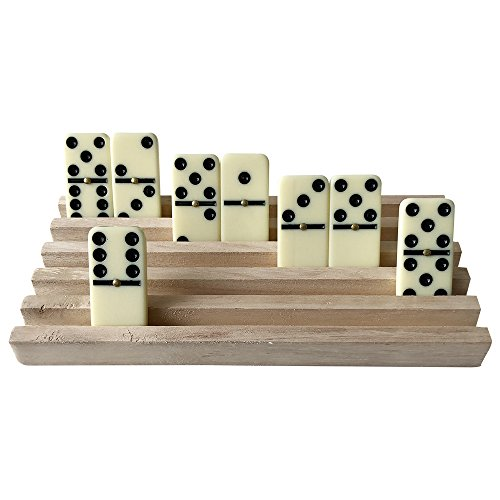 YH Poker Set of 4 Solid Wood Domino Trays, Domino Tiles Rack, Domino Holder