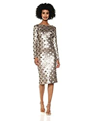 Brass Long Sleeve Sequin Midi Dress
