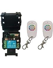 Mini-grootte DC12V 24V 1CH 1CH 10A RF Draadloze afstandsbediening Switch System, Ontvanger + One-Button Transmitter Garagedeuren Shutters (Color : Blue, Size : 433MHZ)