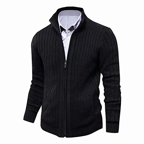 Mens Cardigan Sweater Slim Fit with Full Zip and Pockets (Black,XL) (Mens Business Casual Cardigan)