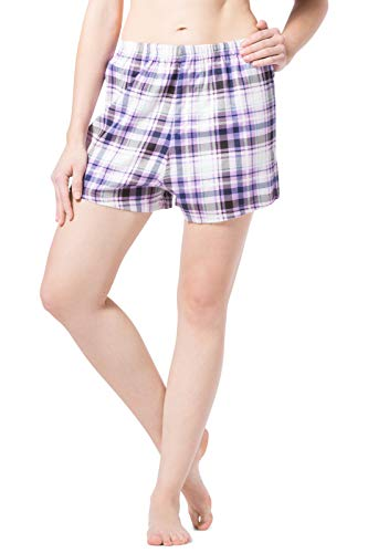 Fishers Finery Women's EcoFlannel Plaid Sleep Lounge Boxer; Flannel (Lavender, L)