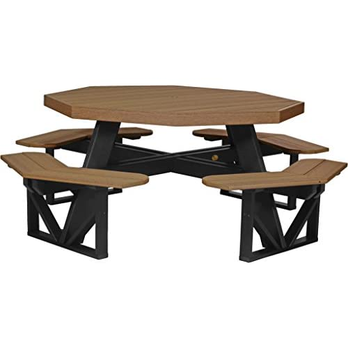 Furniture Barn USA Poly Octagon Picnic Table - Antique Mahogany and Black
