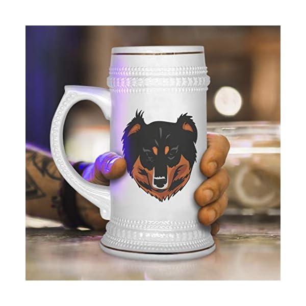 Custom Beer Mug English Shepherd Head Ceramic Drinking Glasses Beer Gifts White 18 OZ Design Only 4