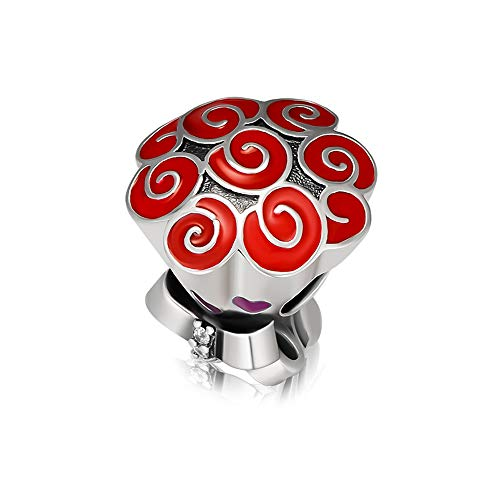 CKK Celebration Bouquet Charm 925 Sterling Silver Jewelry DIY Fits Pandora Bracelet Valentine,Red Enamel