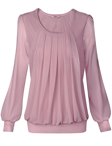 (Timeson Tops for Women Under 10 Dollars, Women's Long Sleeve Tunics Tops Scoop Neck Pleated Front Fitted Blouse Shirts (XXX-Large, 05 Dark Pink))