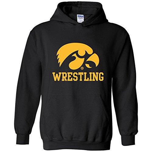 (Iowa Hawkeyes Primary Logo Wrestling Hoodie - X-Large - Black)