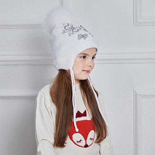 8b9f5d88f2c0 URSFUR Papillon Cristal Bonnet Beanies Cache Oreille Tricot Bébé Fille  Chapeau Pompon Fourrure Enfant Hiver blanc  Amazon.fr  Vêtements et  accessoires