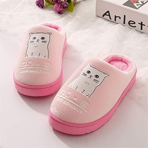 Zapatillas para 37 cálida Rosa Mujer,Pareja algodón de 36 Antideslizante SSrqPU