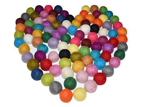 100% Wool 20mm Felt Balls | 0.8inch Pom Poms | Pure Wool Beads | Mixed Color | Felt Ball DIY (50 Felt Balls)