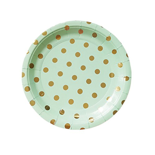 SOCOSY Chic Mint Green Polka Dot Round Paper Plates Disposable Plates Paper Dessert Snack Plate for Party Birthday Wedding 7''/9''(Set of (Green 7' Paper Plates)