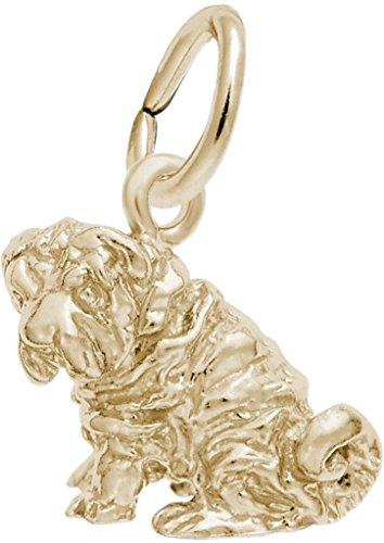 Rembrandt Shar Pei Dog Charm - Metal - 14K Yellow Gold - Shar Pei Dog Charm
