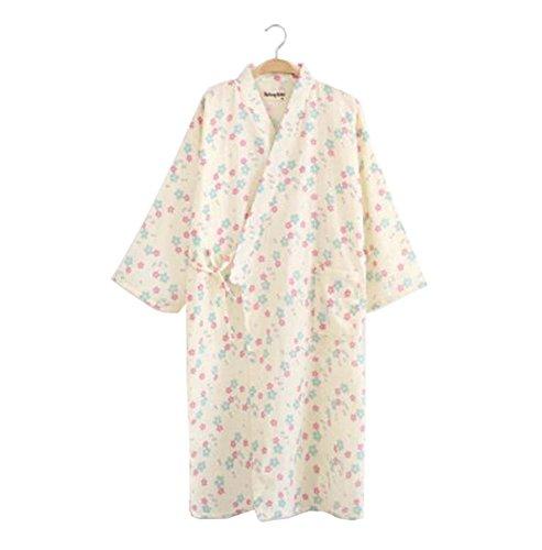 Robe cotone Abito Kimono H donna Accappatoio da in leggero 100 cotone q0Hgrq