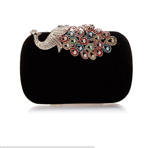 Handbags Shoulder Chain Black Evening Party Cluth Bags Peacock Black Fashion Purse Womens qYUAfx