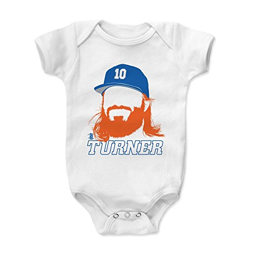 500 LEVEL Justin Turner Baby Clothes, Onesie, Creeper, Bodysuit 12-18 Months White - Los Angeles Baseball Baby Clothes - Justin Turner Silhouette - Turners 14