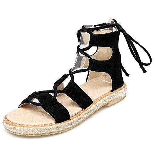 COOLCEPT Damen Mode-Event Schnueren Sandalen Gladiator Zip Open Toe Schuhe Schwarz