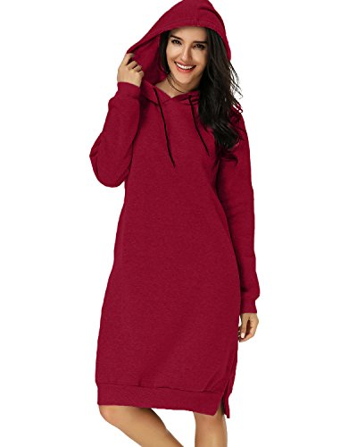 Kidsform Women Autumn Long Sleeve Loose Hoodies Hooded Sweatshirt Fleece Long Dress Wine Red (Hooded Sweater Dress)