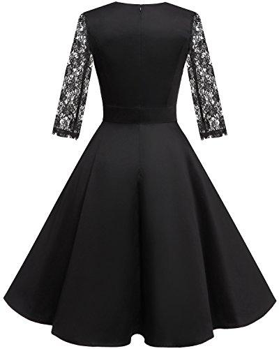 Homrain 1950s Vintage Cocktail Soire Annes 1 Black Hepburn Robe Femme de Style Crmonie Audrey XwZq1Ew8rx