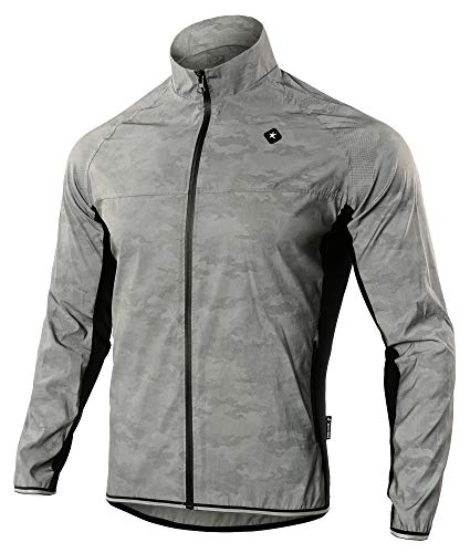 DONEN Men's 360Reflective Waterproof&Wind Proof Cycling Jacket Jersey M Gray