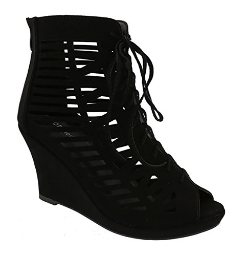 Beston Mujeres Zipper Lace Up Cut Out Stiletto Shoes Black La *