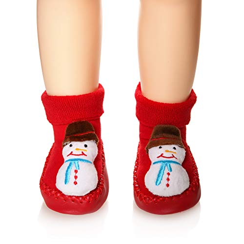 (Eocom Baby Boy Girls Toddlers Christmas Gift Moccasins Non-Skid Indoor Slipper Winter Warm Shoes Socks (Snowman, 0-6 Months))