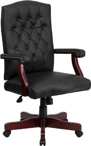 Emma + Oliver Martha Washington Black Leather Executive Swivel Office Chair with Arms