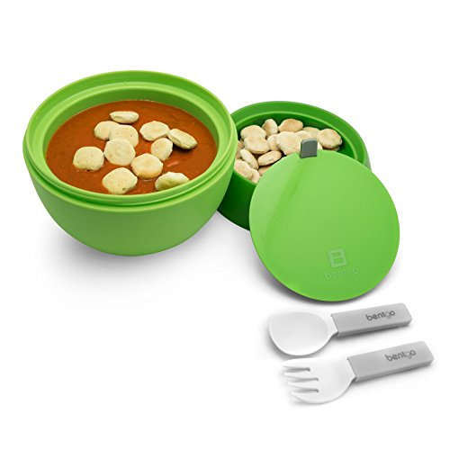 Bentgo Bowl (Green) - Insulated, BPA-Free Lunch Container with Collapsible Utensils Set - Leakproof Bowl Holds Soups, Stews, Noodles, Hot Cereals & More On-the-Go