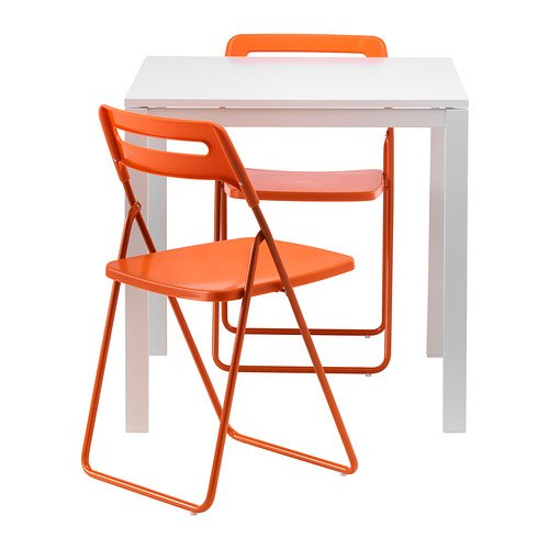 Ikea Table and 2 folding chairs, white, orange 18202.8118.3834