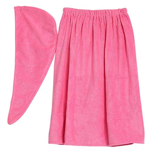 Women's Bath Wrap Set, Adjustable Bathing Bathrobe and Hair Drying Cap Spa Strapless Shower Towel Kits, 35.4 inch/90cm Length (Rose Red) by ZJchao