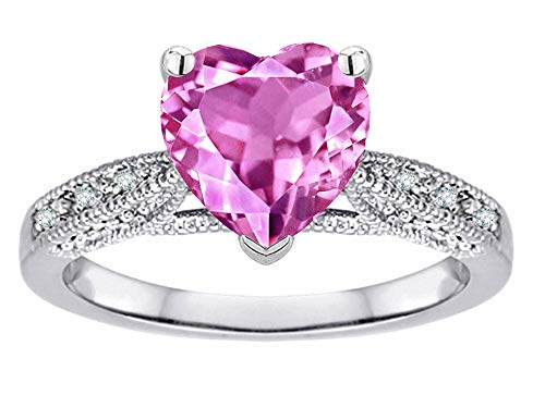 - Star K Heart-Shape 8mm Created Pink Sapphire Antique Vintage Style Solitaire Engagement Promise Ring 10k White Gold Size 4.5