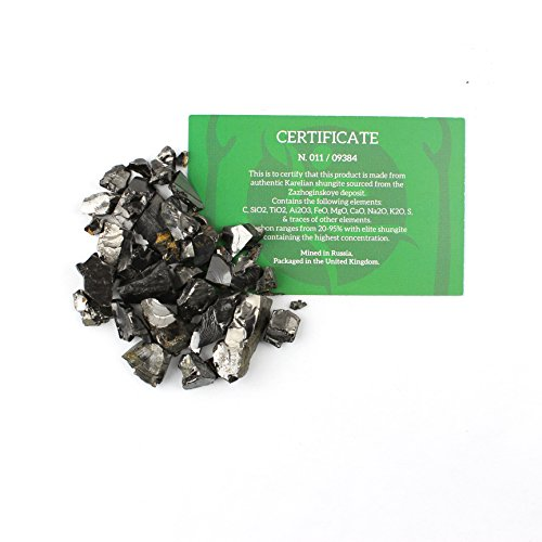 Elite Shungite Stones 25 Grams Natural Crystal Shiny Silver Coloured  Guaranteed Authentic Rare Stone for Water Purification, Making Shungite  Water &