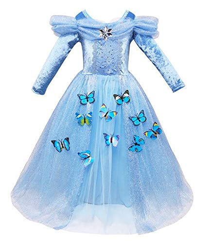 Cinderella Long Sleeve Princess Gown Costume Kid Halloween Party Girls Cosplay Dress, Size 7-8 -