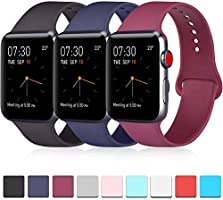 Pack 3 Compatible with Apple Watch Band 40mm Series 4, Soft Silicone Band Compatible iWatch Series 4, Series 3, Series...