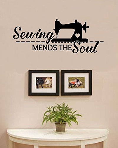 Amazon.com: Sewing mends the soul Vinyl Wall Art Decal Sticker: Home ...