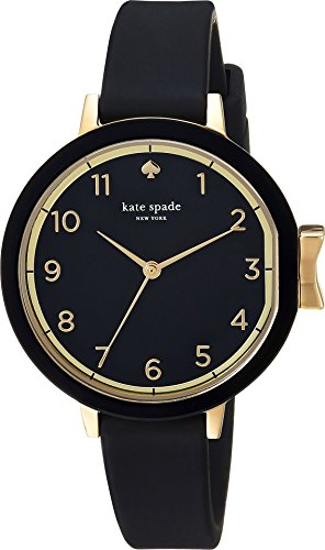 kate spade new york Women's 'Park Row Silicone' Quartz Stainless Steel Casual Watch, Color:Black (Model: KSW1352)