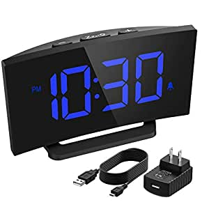 mpow digital alarm clock curved screen clock with led dimmer digits. Black Bedroom Furniture Sets. Home Design Ideas