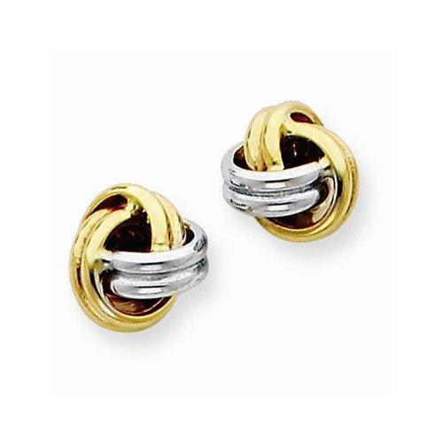14K Two-Tone Love Knot Stud Earrings