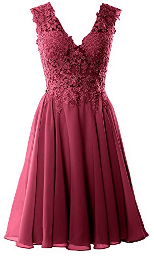 Cocktail Neck Prom Weinrot Lace Short Dress V Homecoming Gorgeous MACloth Gown Formal wxCqgaAn
