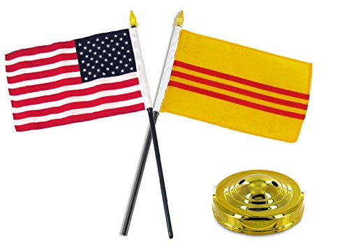 ALBATROS South Vietnam with USA America American Flag 4 inch x 6 inch Desk Set Table Stick with Gold Base for Home and Parades, Official Party, All Weather Indoors Outdoors]()