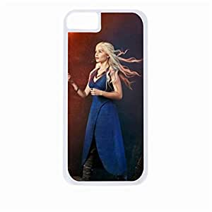 Daenerys Targaryen Digital Painting - Hard White Plastic Snap - On Case with Soft Black Rubber Lining-Apple Iphone 5c Only - Great Quality!