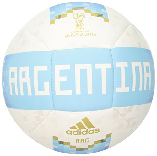 (adidas World Cup Soccer Argentina Adult Official Licensed Product Argentina Ball, 5, White/Bold Blue/Red)