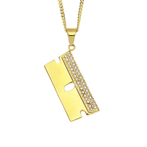 White Circle Pearl Station Necklace (AOVR Hip Hop CUBAN Chain 14k Gold Plated CZ Fully Iced-Out Beard Blade Stainless Steel Pendant)