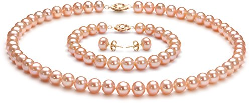 PearlsOnly - Pink 7-8mm AA Quality Freshwater Cultured Pearl Set-18 in Princess length by PearlsOnly
