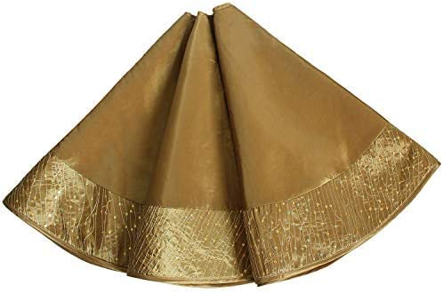 Gireshome Gold Faux Silk Satin Center, Sparkle Glitter Sequin Handcraft Border Christmas Tree Skirt,Xmas Christmas Holiday Party Decoration-50inch